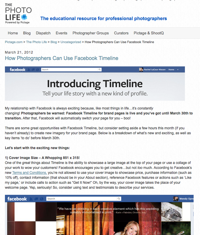 How Photographers Can Use Facebook Timeline - The Pictage Photo Life Blog